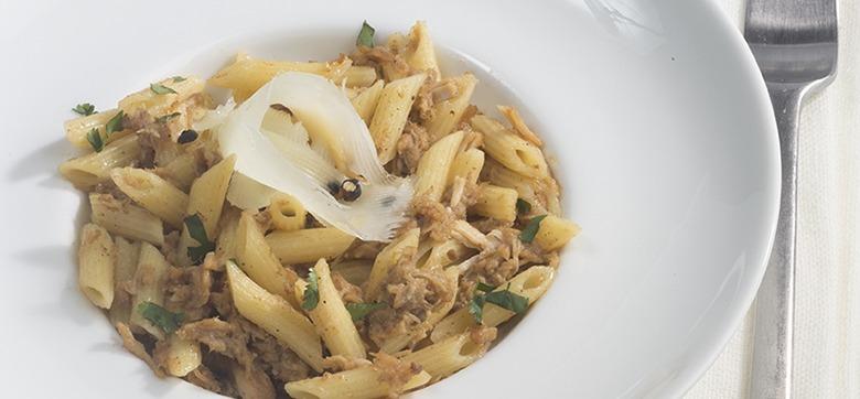 recette Penne aux rillettes de poulet rôti Maison Prunier